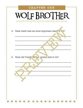 Wolf Brother Novel / Chapters 1-3 / Editable Bundle / 16 Pages