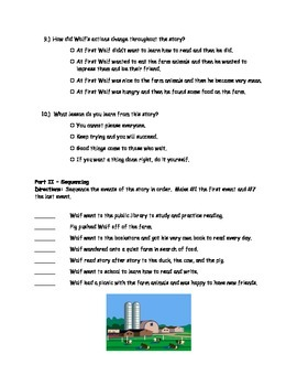McGraw Hill Wonders - 3rd Grade - Wolf Comprehension Activity