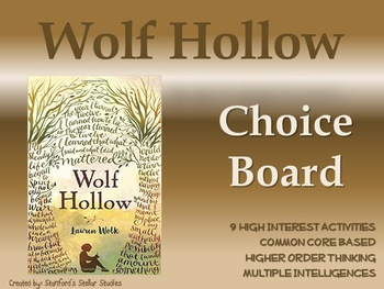 Wolf Hollow Choice Board Tic Tac Toe Novel Activities Assessment Book Project