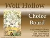 Wolf Hollow Choice Board Tic Tac Toe Novel Activities Asse