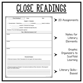 Wolf Hollow: Fiction Close Readings, Graphic Organizers, 20 Assignments