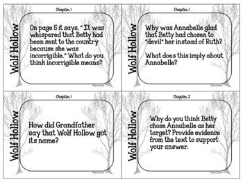 Wolf Hollow ~ Question/Discussion cards
