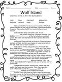 Wolf Island Vocabulary Cloze Activity