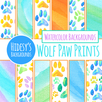Wolf Paw Prints Handpainted Watercolor Digital Papers / Patterns / Clip Art Set