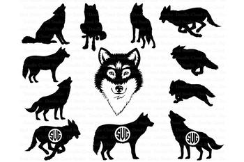 Wolf SVG, Wolf Monogram SVG, Wolf Head SVG files, Wolves.