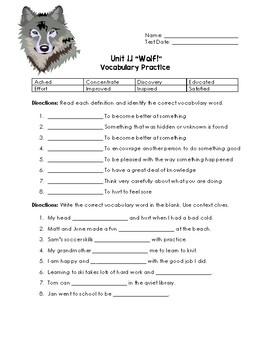 Wolf! Vocabulary