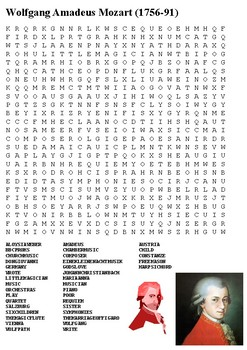 Wolfgang Amadeus Mozart Word Search