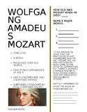Wolfgang Amadeus Mozart Worksheet