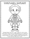 Wolfgang Mozart, Famous Composer Informational Text Coloring Page Craft