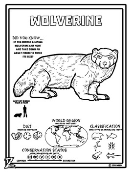 Wolverine -- 10 Resources -- Coloring Pages, Reading & Activities