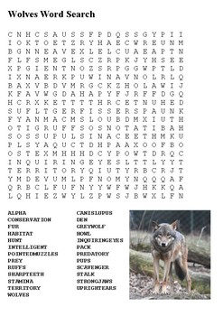 Wolves Word Search