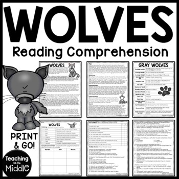 Wolves non-fiction article, vocab, true/false, multiple choice, compare/contrast