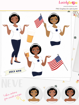 Woman 4th July character clipart, USA girl avatar clip art (Neve L272)
