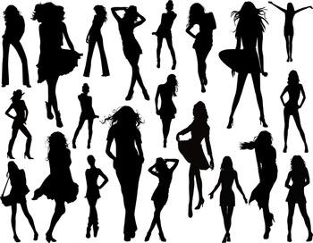 Woman Silhouettes Clip Art Digital Lady Silhouettes Fashion Girl Silhouettes