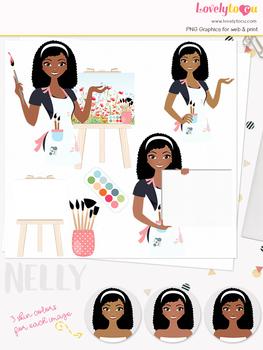 Woman artist character clipart, teacher girl avatar clip art (Nelly L138)