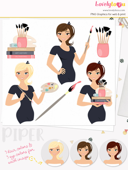 Woman artist character clipart, teacher girl clip art (Piper L135)