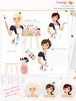 Woman artist character clipart, teacher girl clip art (Piper L137)