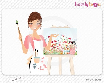 Woman artist with painted canvas PNG clip art (Carrie 563)