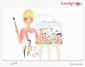 Woman artist with painted canvas PNG clip art (Chloe 563)