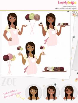 Woman baker character clipart, chocolate girl avatar clip art (Zoe L130)