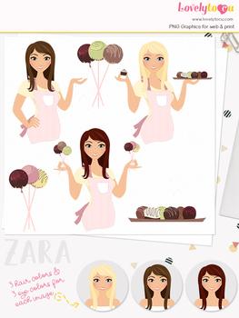 Woman baker character clipart, chocolate girl clip art (Zara L129)