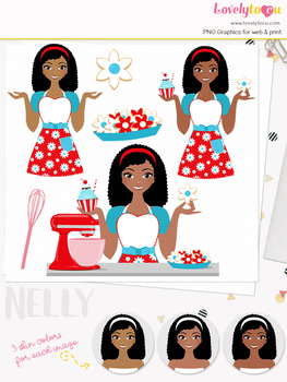 Woman baker character clipart, cookies girl avatar clip art (Nelly L174)