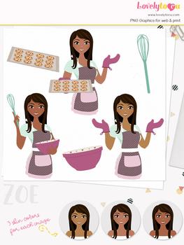 Woman baker character clipart, cookies girl avatar clip art (Zoe L178)