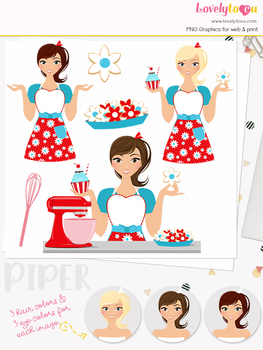 Woman baker character clipart, cookies girl clip art (Piper L173)