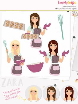 Woman baker character clipart, cookies girl clip art (Zara L177)
