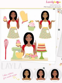Woman baker character clipart, cupcakes girl avatar clip art (Layla L172)