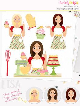 Woman baker character clipart, cupcakes girl clip art (Lisa L171)