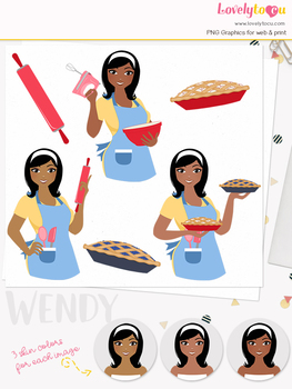 Woman baker character clipart, pies girl avatar clip art (Wendy L180)