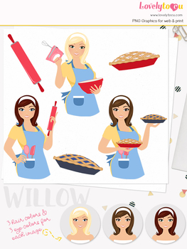 Woman baker character clipart, pies girl clip art (Willow L179)