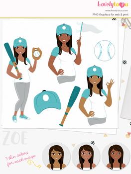 Woman baseball character clipart, sports girl avatar clip art (Zoe L280)
