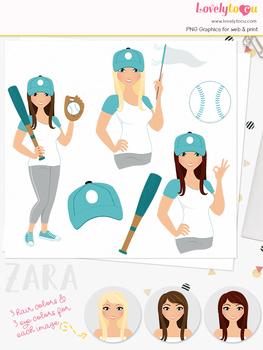 Woman baseball character clipart, sports girl clip art (Zara L279)
