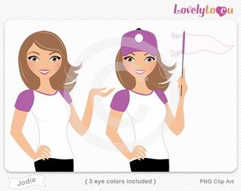 Woman baseball player or fan PNG clip art (Jodie 583)