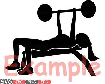 Woman bench press exercising Fitness and Health clipart gym workout health -600c