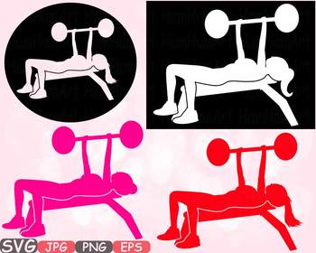 Woman bench press exercising Fitness and Health clipart gy