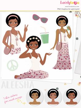 Woman boho character clipart, summer girl avatar clip art (Aleesha L264)