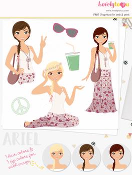 Woman boho character clipart, summer girl clip art (Ariel L263)