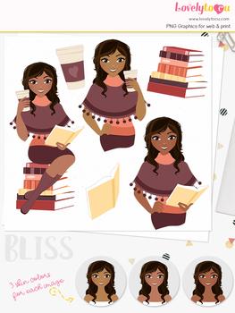Woman book lover character clipart, teacher girl avatar clip art (Bliss L286)