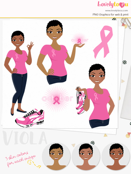 Woman breast cancer character clipart, runner girl avatar clip art (Viola L282)