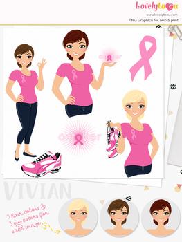Woman breast cancer character clipart, runner girl clip art (Vivian L281)