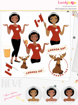 Woman canada day character clipart, canadian girl avatar clip art (Neve L270)