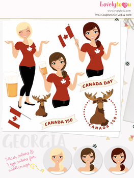 Woman canada day character clipart, canadian girl clip art (Georgia L269)
