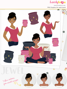 Woman candle character clipart, aromatherapy girl avatar clip art (Jewel L126)