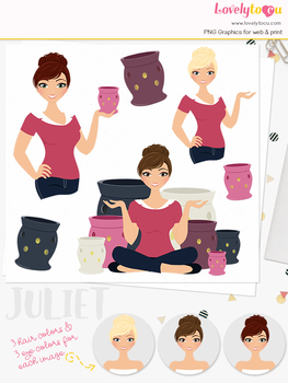 Woman candle character clipart, aromatherapy girl avatar clip art (Juliet L125)