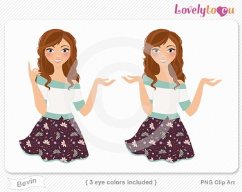 Woman character avatar 2 pack PNG clip art (Bevin B50)