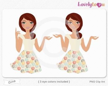 Woman character avatar 2 pack PNG clip art (Gina B22)