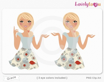 Woman character avatar 2 pack PNG clip art (Grace B22)